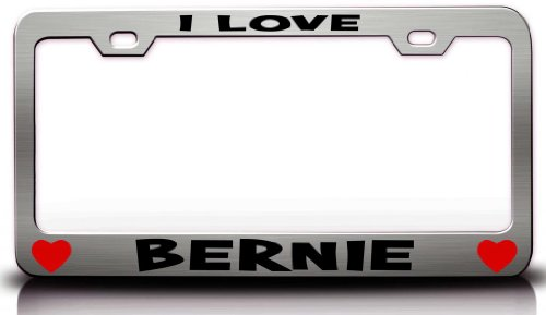 I LOVE BERNIE Romantic High Quality Steel Metal License Plate Frame Style #1 Chrome