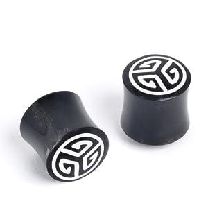 81stgeneration Black 16g tribal stretcher expander fake spiral horn earrings pair