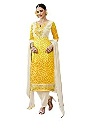 Shenoa Women's Cotton Silk Unstitched Salwar Suit Dress Material (Yellow, Free Size)
