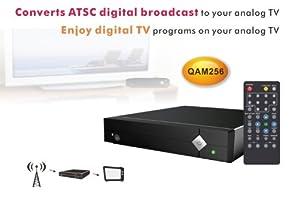NEW Hdtv Digital Tv to Analog Converter Box + Flat Antenna Broadcast Atsc Series