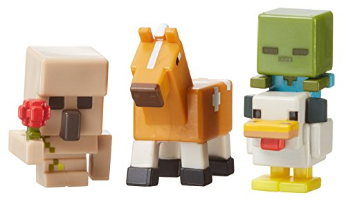 Minecraft Mini Figure 3-Pack, Iron Golem with Flower, Chicken Zombie & Palamino Horse (Mini Chickens compare prices)