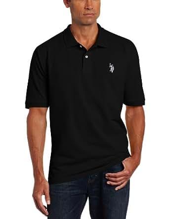 U.S. Polo Assn. Men's Solid Pique Shirt, Black/White, X-Large