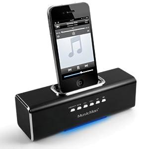 MusicMan TXX3551 Soundstation/Stereo Lautsprecher mit integriertem Akku (MP3 Player, Micro-SD Kartenslot, USB Steckplatz, iPhone/iPod Dock) schwarz