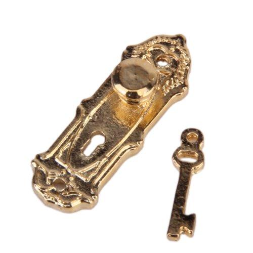 4 Stück Vintage Türschloss mit Schlüssel für 1/12 Puppenhaus Miniatur Golden