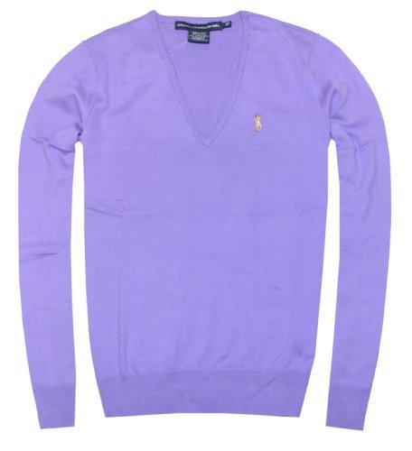 Ralph Lauren Sport Women Cotton V-Neck Pony Logo Sweater (S, Hampton Purple)