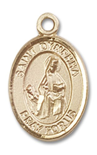"""Gold Filled St. Saint Dymphna Pendant 1/2 X 1/4"""" Inches 9032Gf--Comes With 18"""" Inch Gold Filled Lite Curb Chain In A Grey Velvet Gift Box Patron Saint Of Mental Illness/Runaways"""
