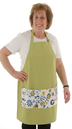 Twinklebelle Apron, Green with Floral Pocket, for Cooking, Gardening, Crafting