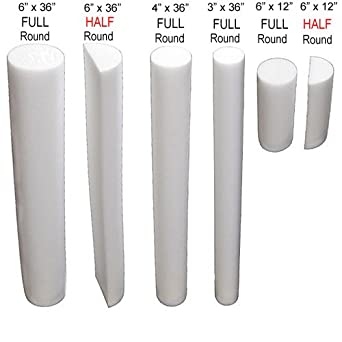 "Foam Rollers - 6""x36"" - Full Round Tube - White"