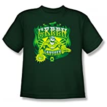 Green Lantern GREEN FLAMES Kids Size Forest Green Superhero Youth T-shirt