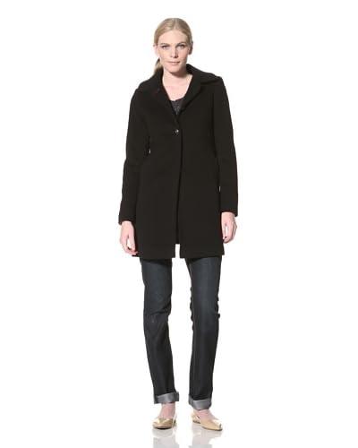 Tommy Hilfiger Women's Classic Wool A-Line Coat  - Black