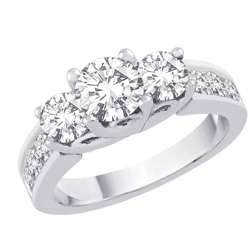 3 Cubic Zirconia Anniversary Ring 2 ct. in Sterling Silver