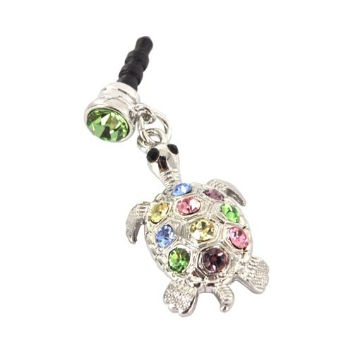 Apple Iphone 4S 4 Galaxy S Cell Phones And Mp3S Silver Turtle Multi Colored Gems Universal 3.5Mm Headphone Plug Charm