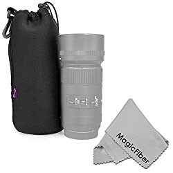 Altura Photo Extra Large Neoprene Pouch Bag for DSLR Camera Lens (Canon, Nikon, Pentax, Sony, Olympus, Panasonic) + MagicFiber Microfiber Lens Cleaning Cloth