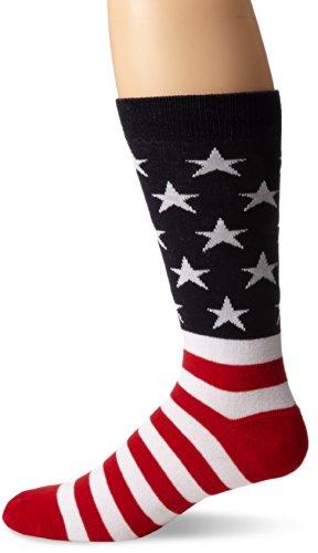 K. Bell Socks Men s American Flag Crew Sock, Red/W…