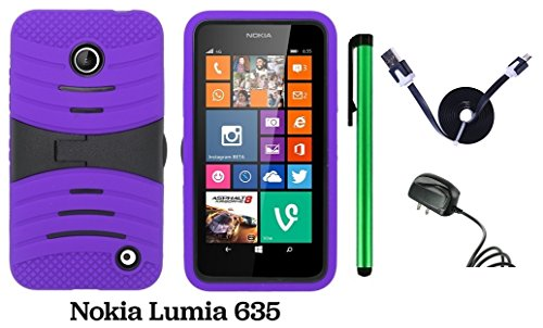 Nokia Lumia 635 / Nokia Lumia 630 Premium Pretty Ucase With Kickstand Cover Case (Us Carrier: T-Mobile, Metropcs, And At&T) + Travel (Wall) Charger + 1 Of 1M/3Feet Stylish Micro Usb To Usb 2.0 Data Sync Charger Flat Cable + 1 Of New Assorted Color Metal S