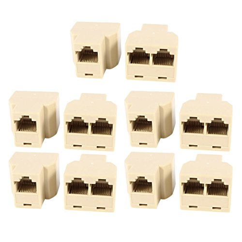 Rj45 Female To 2 Female Phone Cable Connectors Adapters 8P8C 10Pcs