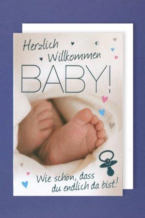 Füße Klappkarte für Glückwünsche zur Geburt, SET MIT UMSCHLAG, B6 - PORTOFREI möglich, personalisierbar, Hochformat 12,5x18,5cm veredelt mit Heißfolie und Straß