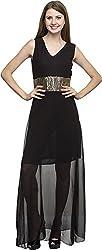 Dashy Club Women's Regular Fit Dress (VV-906-AC-BLACK SEQUENCE LONG DRESS, Black, S)