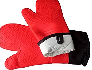 Silicone Oven Mitts and Pot Holders Set of 3 - JoyEssential Professional Pair of Oven Mitts Extra Long Heat Resistant with Cotton Quilted Liner plus 1 Trivet Mat - Red