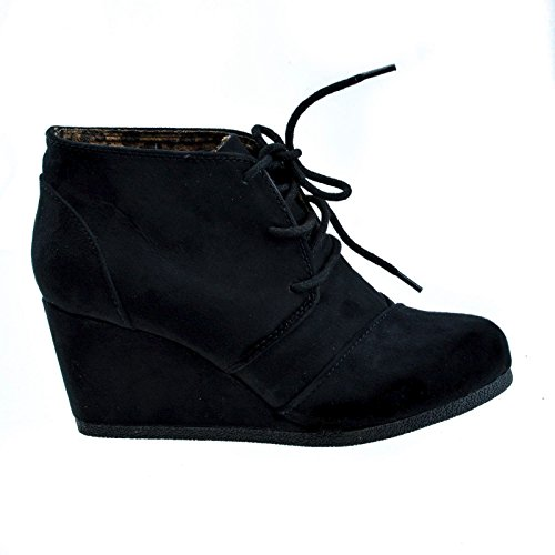 #Rex BlackIMSU Lace Up Oxford Ankle Bootie Round Toe High Hidden Wedge Heel Women's Shoe -6 (Soda Shoes Women Wedges compare prices)