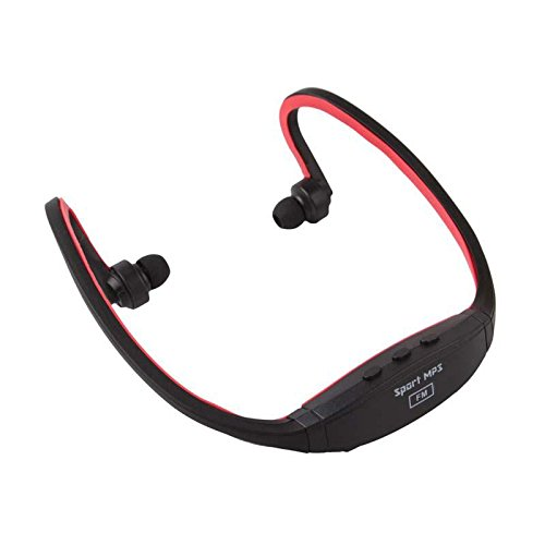 Wireless Stereo Neckband Sports Running Cycling Outdoors Headphone Headset Mp3 Player Fm Support Tf Card Red