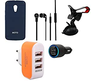NIROSHA Cover Case Car Charger Headphone Mobile Holder Charger for Motorola G2 2nd Gen - Combo