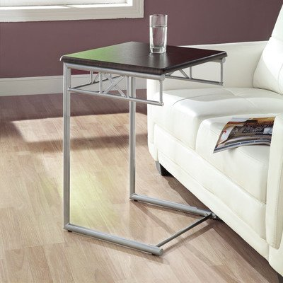 Monarch Specialties I 3073 Cappuccino Finish Wood and Silver Metal Snack/End Table