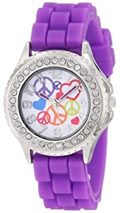 Frenzy Kids' FR792 Purple Rubber Band Peace Watch
