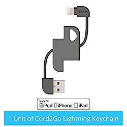 [Apple MFi Certified] Skiva Cord2Go Lightning KeyChain with Carabiner for iPhone 6 6Plus, iPad Air mini, iPod touch 5 nano 7 and more [8-pin Lightning to USB Charger Cable Adapter] [Model: CB113]