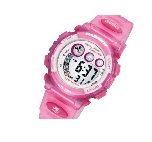 Pasnew Led Digital 30M Waterproof Outside Sports Digital Wrist Watch For 3-10 Years Olds Children Kids Boys Girls N9 Pink Color