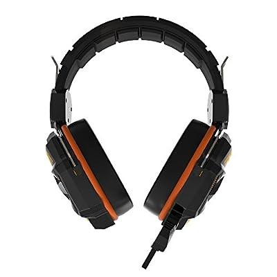 HAVIT® HV-H2158U DAC Surround Sound Virtual 7.1 USB PC Computer Gaming Headset Headphone with Build-in 40mm Microphone, 7 Colors Breathing LED Light (Black + Orange)