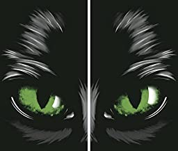 WOWindow Posters Green Eyed Glowing Eyes Halloween Window Decoration Two 34.5\