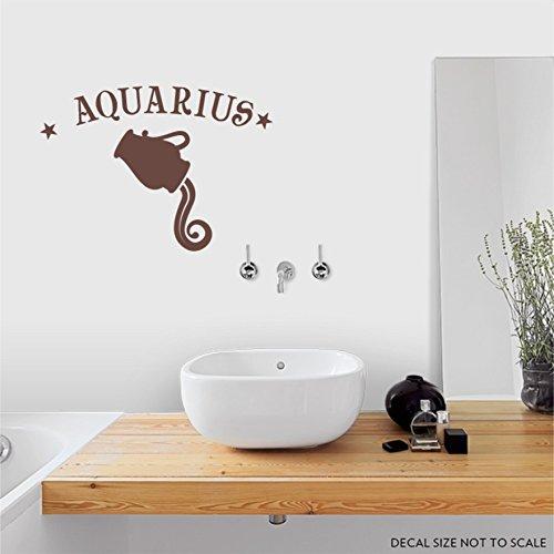 Aquarius Zodiac Sign Wall Decal Brown 36