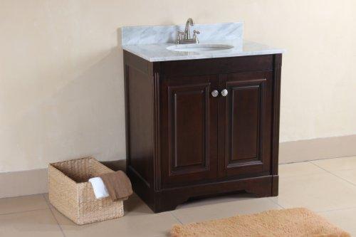 Virtu Usa Rs-10530-Wm-Dw 31-Inch Austen Italian Carrara Marble Single Sink Bathroom Vanity, Dark Walnut
