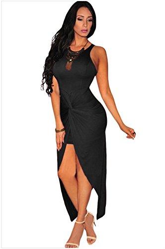 YeeATZ Women's Knotted Slit Dress(Black)