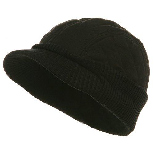 Winter Quilted Cap-Black W28S61C