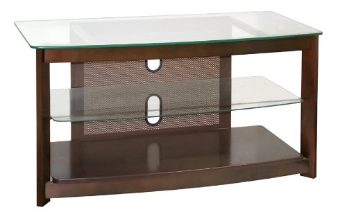 Poundex 3-Tier Glass Top TV Stand, Brown Chocolate