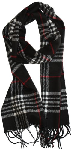 LibbySue-Classic Cashmere Feel Winter Scarf in Rich Plaids in Black