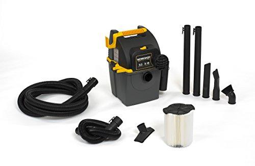 WORKSHOP Wet/Dry Vacs WS0500WM Portable Wall Mount Wet Dry Shop or Garage Vacuum, 5-Gallon, 5.0 Peak HP