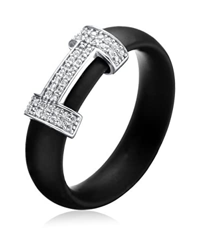 Alberto Moore Black Silicone Ring with a CZ Slide, Black/Silver