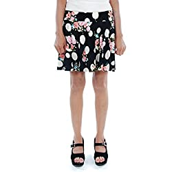 BLACK MULTICOLOR FLORAL PRINTED SKIRTS (Free Size)
