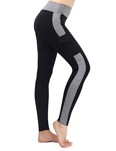Neonysweets Womens Yoga Pants Tights Running Fitness Pants Leggings Black Gray S