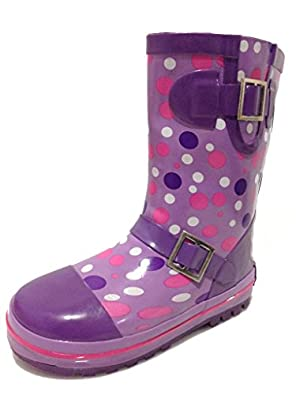 Amazon.com: Toddler Girls Purple Polka Dot Rain Snow Boots