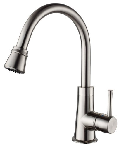 Kraus KPF-2220SN Single Lever Pull Out Kitchen Faucet, Satin Nickel