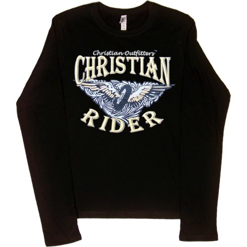 JUNIORS LONG-SLEEVE T-SHIRT : BLACK - SMALL - Christian Outfitters - Christian Rider - Biker Inspirational