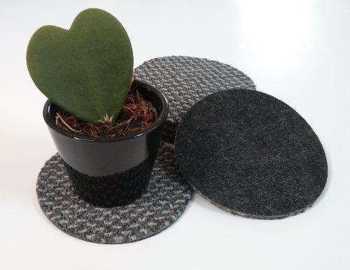 Untersetzer wasserfest aus Teppich Filz rund Textilrücken 6-er Set für Gläser, Tassen oder Vasen grau 12 cm