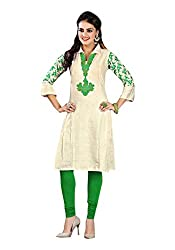 The Ethnic Chic Women's Cream Color Khadi Cotton Kurti.