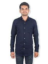 Men's Casual Solid Shirt_9linconblue_Blue_S