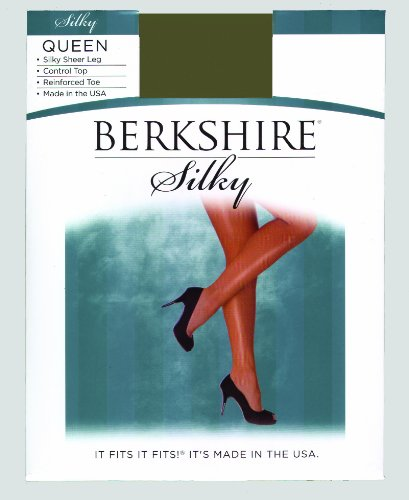 Berkshire Women's Plus-Size Queen Silky Sheer Control Top Pantyhose 4489, Fantasy Black, 3X-4X