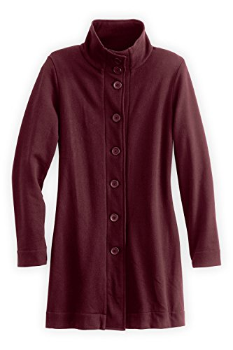 Fair Indigo Organic Fleece Funnel Neck Jacket (L, Burgundy)